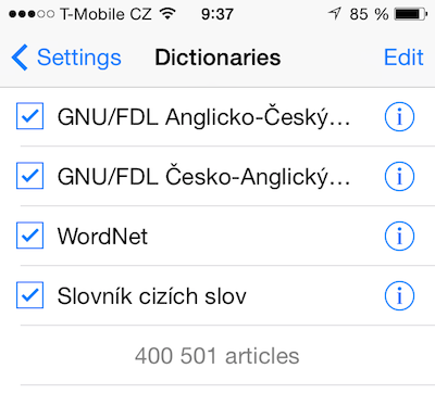 Universal Dictionary: slovníček pro iOS, který vám naslouchá