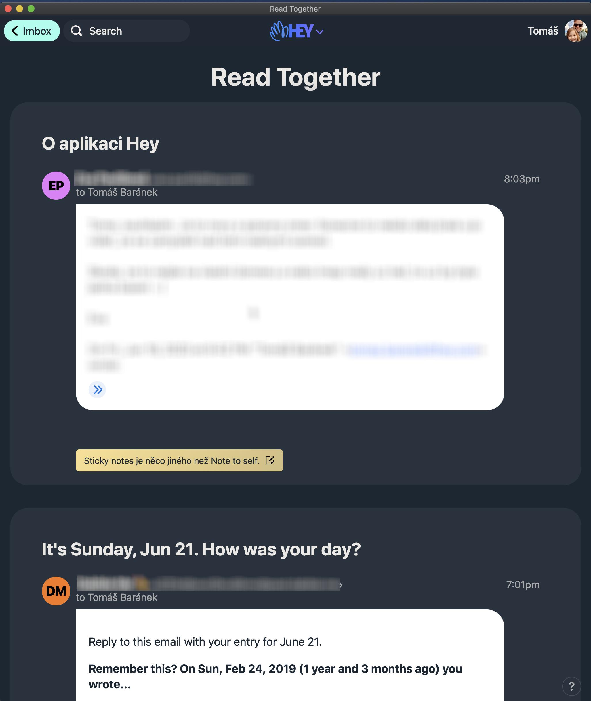 Hromadné čtení zpráv pomocí Read Together.